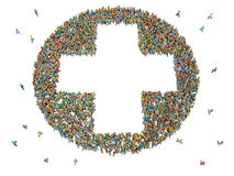 Large group of people in the shape of a plus sign Stock Images
