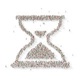 Large group of people in the shape of a sand watch. 3D illustrated Stock Photos