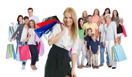 Large group of people with shopping bags Stock Images