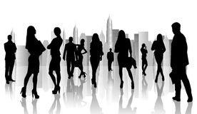 Large group of people silhouette Royalty Free Stock Images