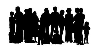 Large group of people silhouettes set 2. Black silhouette of a large group of different people, adults standing and some children sitting on the floor, front Royalty Free Stock Photos