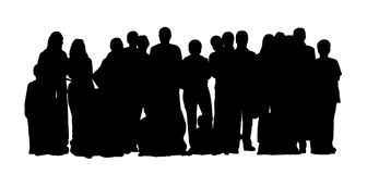 Large group of people silhouettes set 1. Black silhouette of a large group of different people some standing and some sitting on the floor front view Stock Photography