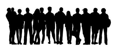 Large group of people silhouettes set 4 Stock Photo