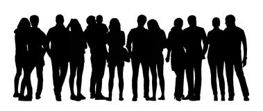 Large group of people silhouettes set 12 Royalty Free Stock Image