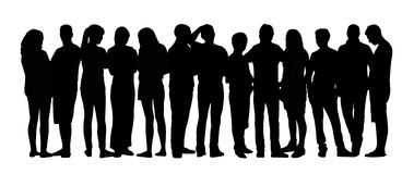 Large group of people silhouettes set 9 Royalty Free Stock Images