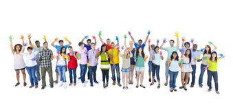 Large Group People Standing Togetherness Concept Stock Photo