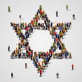 Large group of people in the Star of David shape. Judaism sign. Jewish background. Religious symbol. Vector illustration Stock Photos
