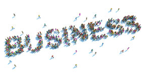 Large group of people stood in the form of the word business Royalty Free Stock Images