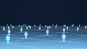 Large group of people symbols with connection lines on blue. Background, social network for technology concept, 3d illustration Royalty Free Stock Photos