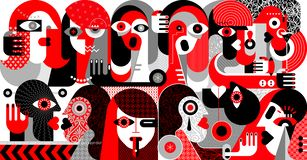 Large Group of People vector illustration. Large group of people modern abstract art vector illustration. Red, black and grey design isolated on a white stock illustration