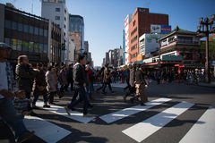 Large group of people walking to the Asakusa Temple for the New Stock Images