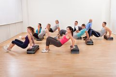 Large group of people working out together Stock Photo