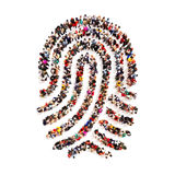 Large group pf people in the shape of a fingerprint on an  white background. People finding there identity, identity theft, individuality concept Stock Image