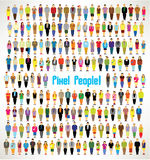 A large group of pixel people gather design. A large group of pixel people gather together icon design stock illustration