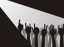 Large group of raising hands Royalty Free Stock Photo