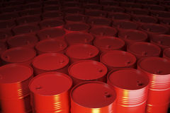 Large group of red barrels Royalty Free Stock Images