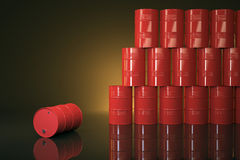 Large group of red barrels. With warm light Royalty Free Stock Image