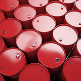 Large group of red oil barrels. Royalty Free Stock Photo