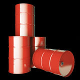 Large group of red oil barrels. Stock Image