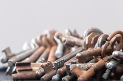 A large group of rusty keys Stock Images