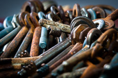 A large group of rusty keys Royalty Free Stock Photos