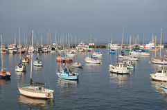 Large group of sail boats in a marina Stock Photo