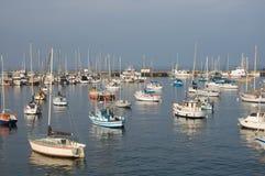 Large group of sail boats in a marina. Near dusk Stock Photo