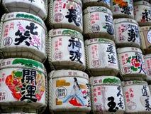 Large group of Sake barrels displayed at the Mejii Shrine in Tokyo, Japan stock photo