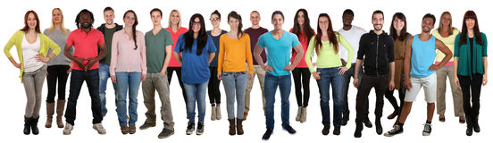 Large group of smiling young people happy multi ethnic Royalty Free Stock Photography