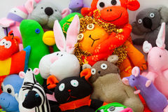 Large group of sock toys Stock Photo