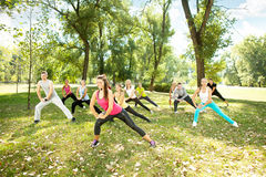 Large group stretching Stock Photos
