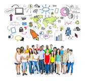 Large Group of Student of Social Networking Royalty Free Stock Image