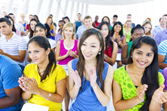 Large group of Students applausing Stock Photo