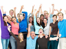 Large group of successful people celebrating Royalty Free Stock Photo