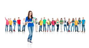 Large group of teenage students isolated on white. Background. Many different people standing together. School, education, college, university concept Stock Photo