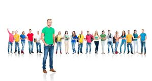 Large group of teenage students isolated on white. Background. Many different people standing together. School, education, college, university concept Royalty Free Stock Image