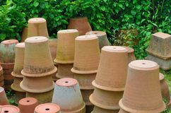 Large group of terracotta gardening pots Royalty Free Stock Photos