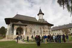 A large group of tourist visit Sucevita Monastery. Stock Images