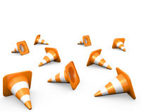 Large group of traffic cones. Isolated on white Royalty Free Stock Photography
