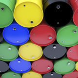 Large group of varicolored  barrels. Royalty Free Stock Images