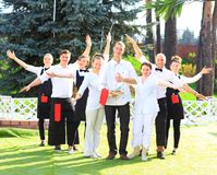 Large group of waiters Royalty Free Stock Photography