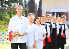 Large group of waiters Royalty Free Stock Photos