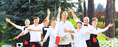 Large group of waiters and waitresses Royalty Free Stock Photography