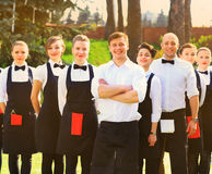 Large group of waiters and waitresses Royalty Free Stock Photo