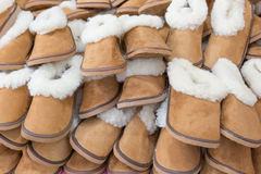 Large group of warm soft slippers for the winter. Royalty Free Stock Image