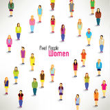 A large group of women gather design. A large group of women gather together icon design stock illustration