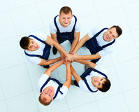 Large group of workers standing. In circle royalty free stock photos