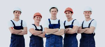 Large group of workers standing in circle top view Stock Photos