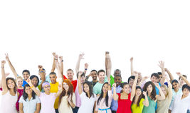 Large Group of World People Celebrating Stock Photo