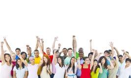 Large Group of World People Celebrating Stock Photo